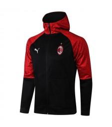 AC Milan Veste à capuche de football noire pour hommes Uniformes de survêtement de football 2021-2022