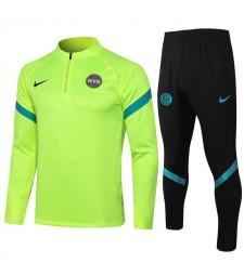 Survêtement de football vert fluorescent Inter Milan Uniformes de football pour hommes 2021-2022