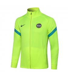 Inter Milan Fluorescent Vert Col Haut Veste De Football Pantalon Hommes Football Survêtement Uniformes 2021-2022