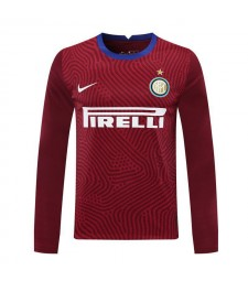 Inter Milan gardien de but rouge à manches longues maillot de football maillots de football uniformes 2020-2021